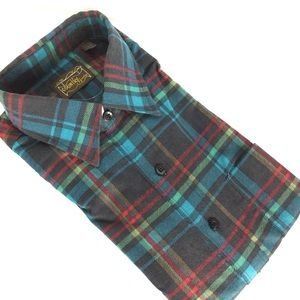 Vintage men's western flannel plaid dress shirt